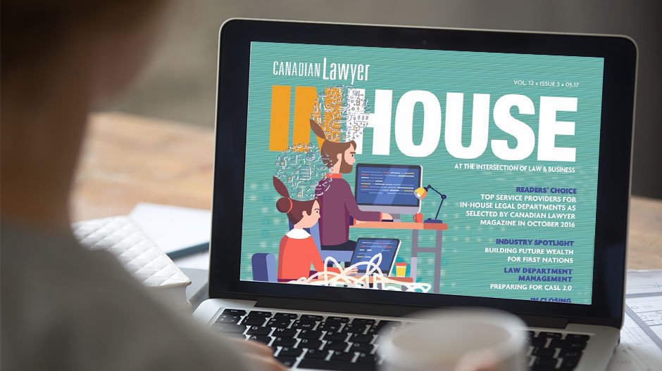 Canadian Lawyer InHouse Magazine Cover